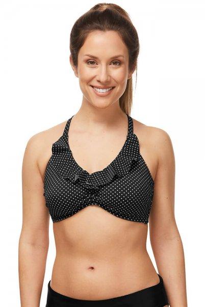 Amoena Prothesen-Bikini-Oberteil Romantic Downtown 71481 in black white dots in der Vorderansicht